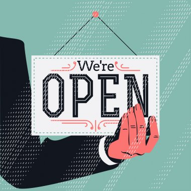 'We're open' sign