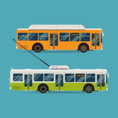 Cool modern flat design public transport vehicle city transit shorter distance bus and trolleybus, side view, isolated stock vector