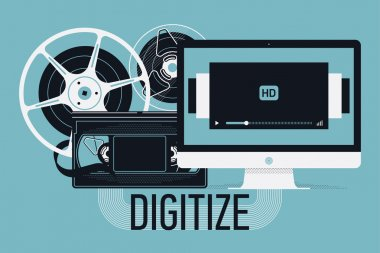 Beautiful flat concept design on analogue video data recordings digitizing service. Converting analog data to digital format with retro film reels, home video cassette, modern computer monitor stock vector