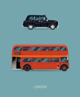 Taxi automobile, double decker bus