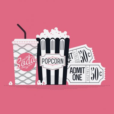 movie entertainment with soda and popcorn