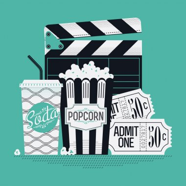clapboard, popcorn, cinema theater tickets