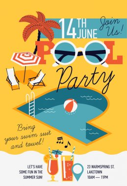 design invitation on pool party