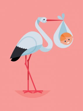 stork holding smiling newborn baby