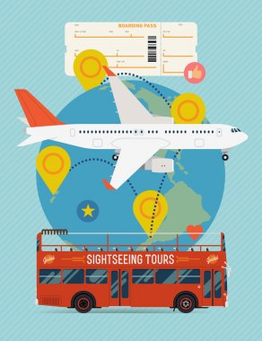 Tickets and travel with jet airliner