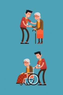 Senior woman in wheelchair with careful man