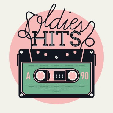 Cool vector creative and detailed concept illustration on retro music and oldies hits with analogue audio cassette tape and lettering stock vector