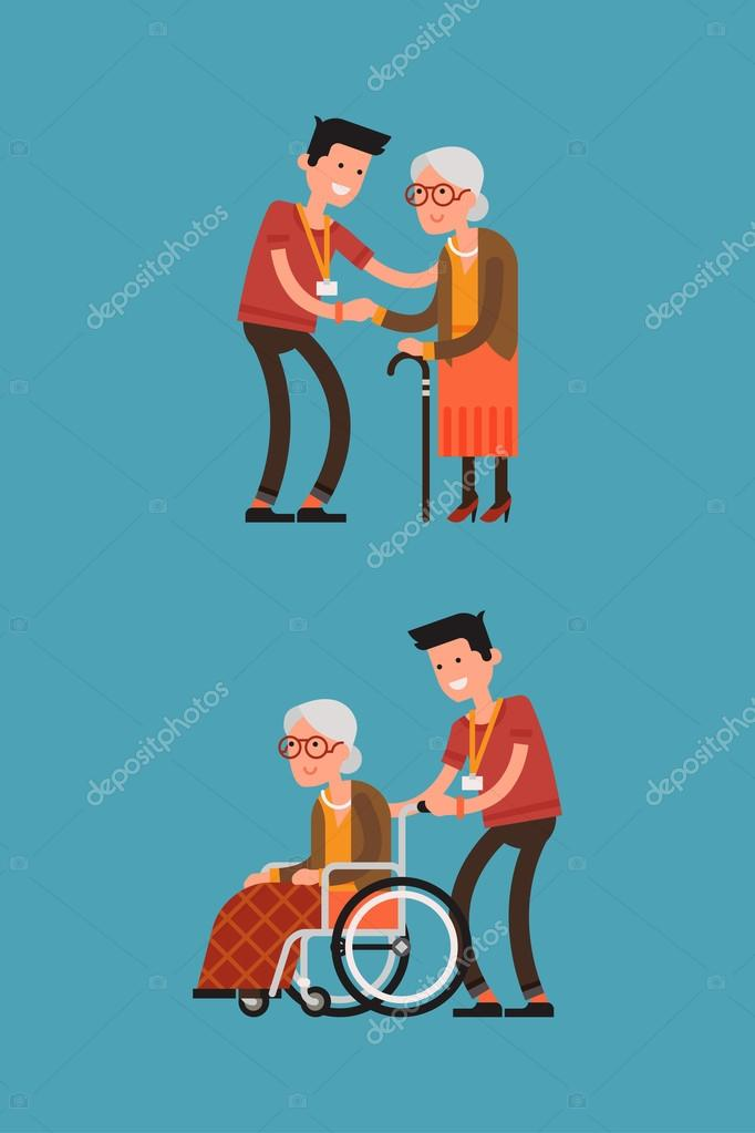 Senior woman in wheelchair with careful man