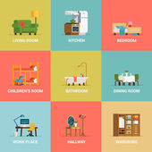 Interior design room types icons