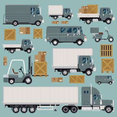 Large set of cool detailed flat design freight commercial transport items featuring delivery van, scooter, flatbed truck, forklift, semi-trailer tractor unit and various types of load and cargo stock vector