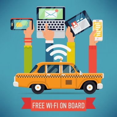 Taxi cab with wi-fi access