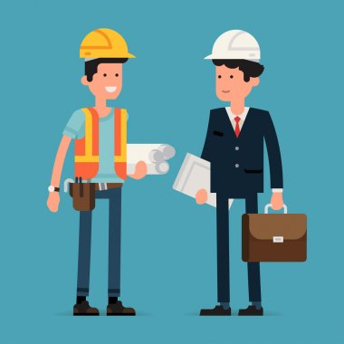Cool flat design vector characters on building worker with hard hat helmet, orange vest and tool belt and civil engineer specialist in suit holding briefcase and papers wearing hard hat stock vector