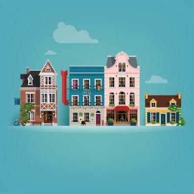Small european town buildings