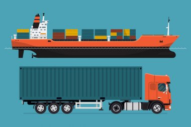 container ship and european semi-trailer tractor