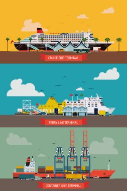 Ship, cruise   liner and container   terminals.