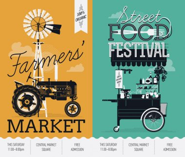 Beautiful and trendy Street food festival and Farmers market events announcement poster templates with detailed retro farmyard tractor, windmill, mobile cafe food cart with awning stock vector