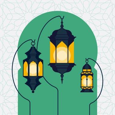 Ramadan lanterns on Arabic doorway