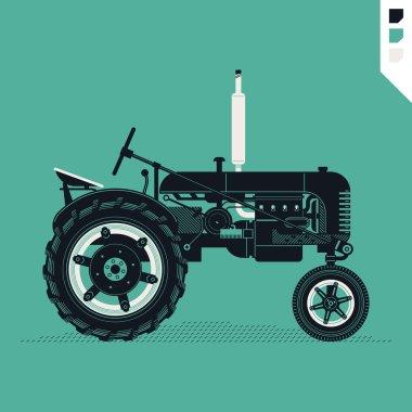 retro farm field tractor.