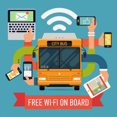 city bus with wi-fi access.