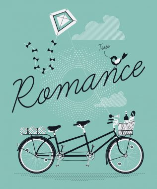 Romance with tandem bicycle