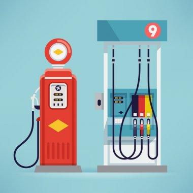 modern and retro gas pumps