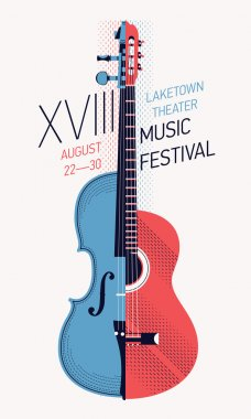 Beautiful modern annual music festival poster or flyer template. Ideal for local events announcement and promotions clip art vector