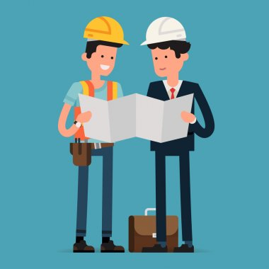 Construction worker and architect reading building scheme blueprint | Male civil engineer characters studying construction documentation stock vector