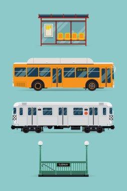 bus, subway train, bus stop