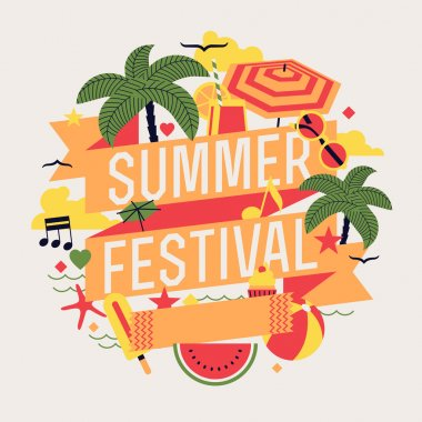 Beautiful summer festival element