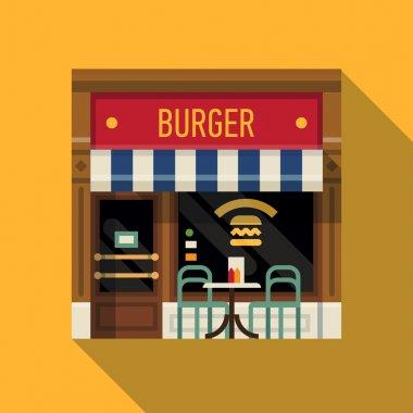 burger restaurant facade background.