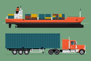 container ship and semi-trailer tractor unit
