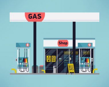 Cool detailed vector modern flat design gas filling station. Transport related service building Gasoline and oil station with shop stock vector