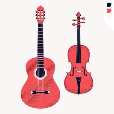 Acoustic guitar and violin.