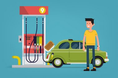 Confident gas station customer standing full length smiling with vintage small gar filling next to gas pump stock vector