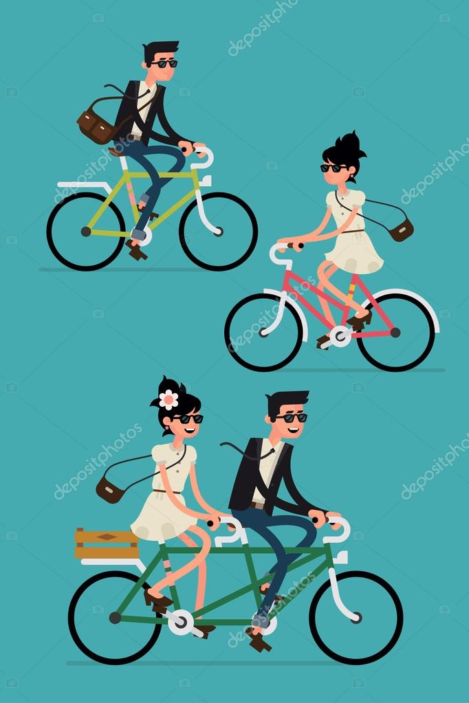 Young hipsters couple riding
