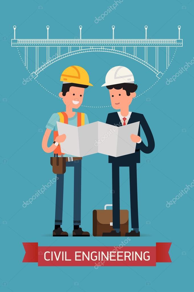 Builders studying building scheme