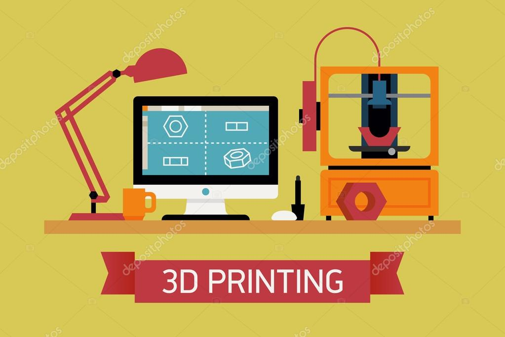 Cool Concept Of 3d Printing Stock Vector Masha Tace