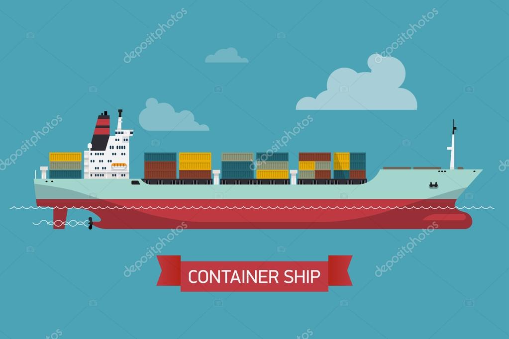 loaded container ship