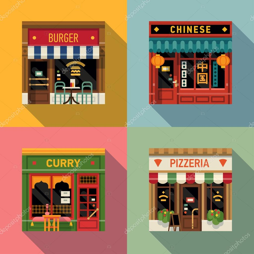 Restaurants facade icons.