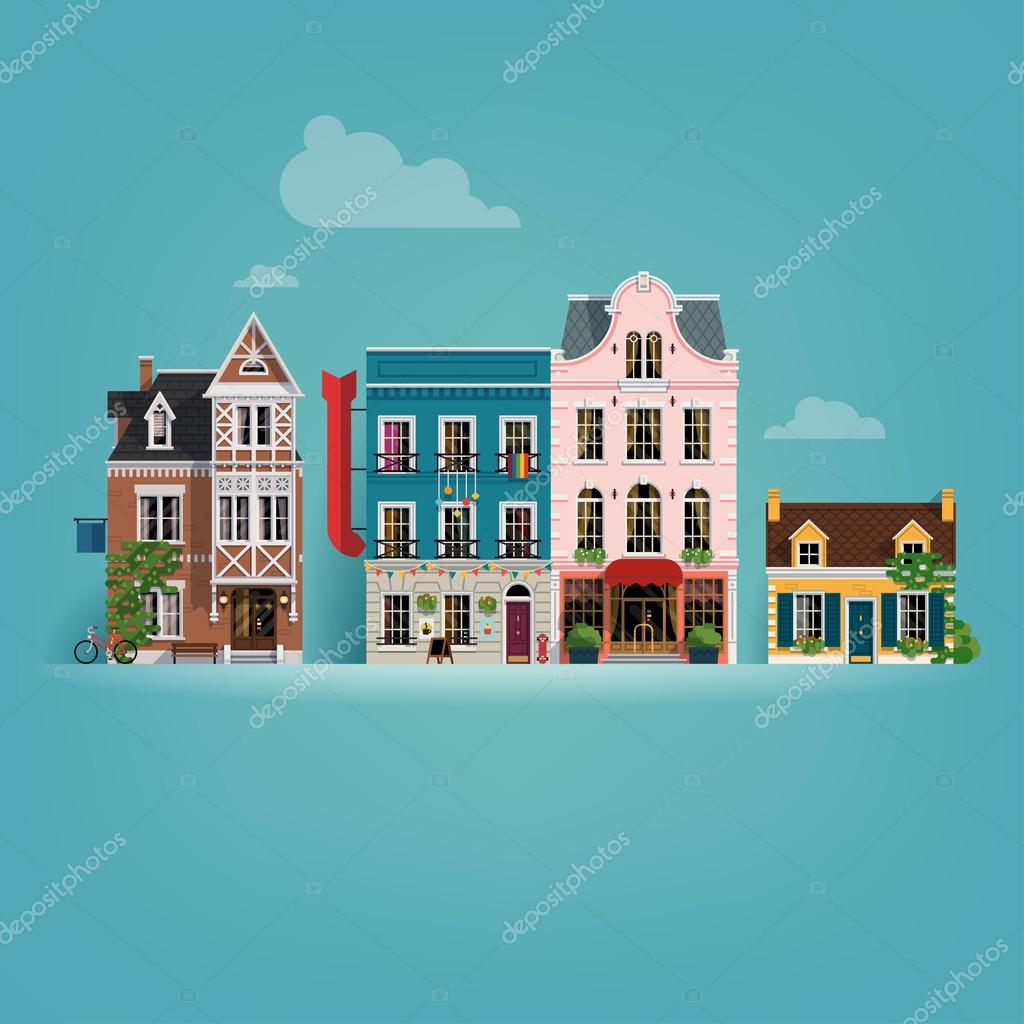 Small european town buildings