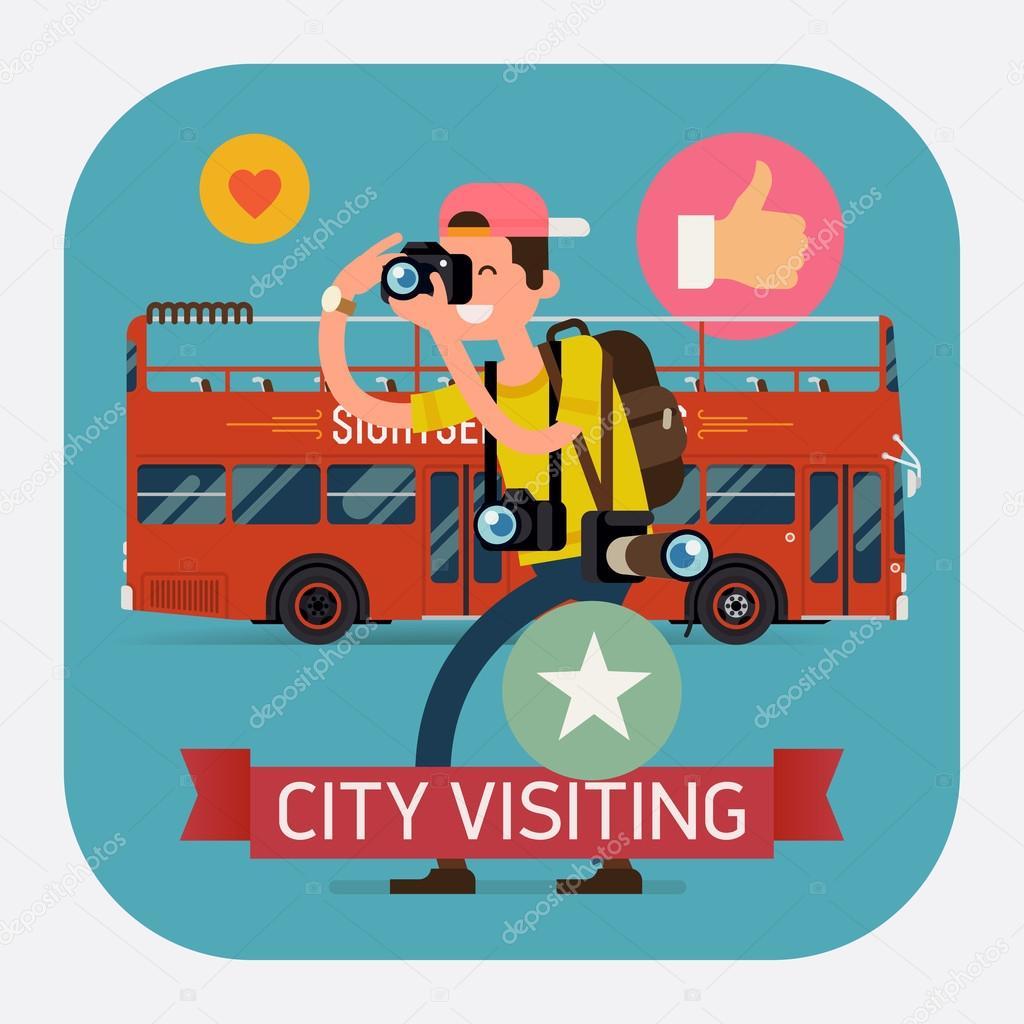 double decker touristic city bus.