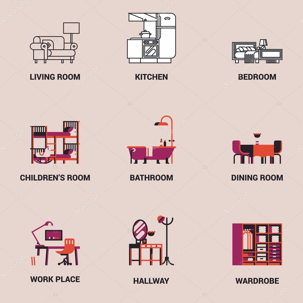 Interior design room types icons stock vector masha for Interior design images vector