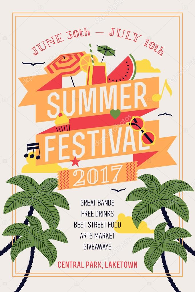 Beautiful summer festival web banner