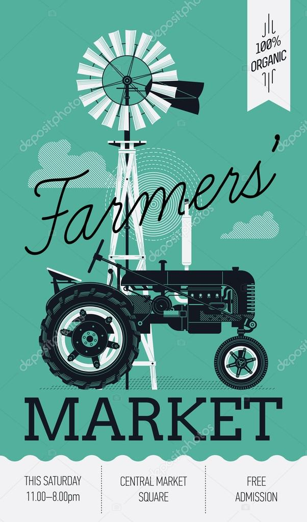 Farmers Market with   windmill and tractor