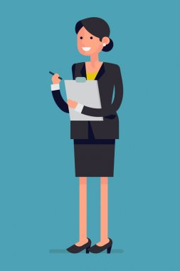 business woman with pen and clipboard