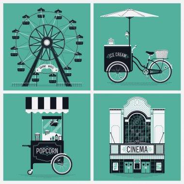 wheel, cinema, ice cream, popcorn