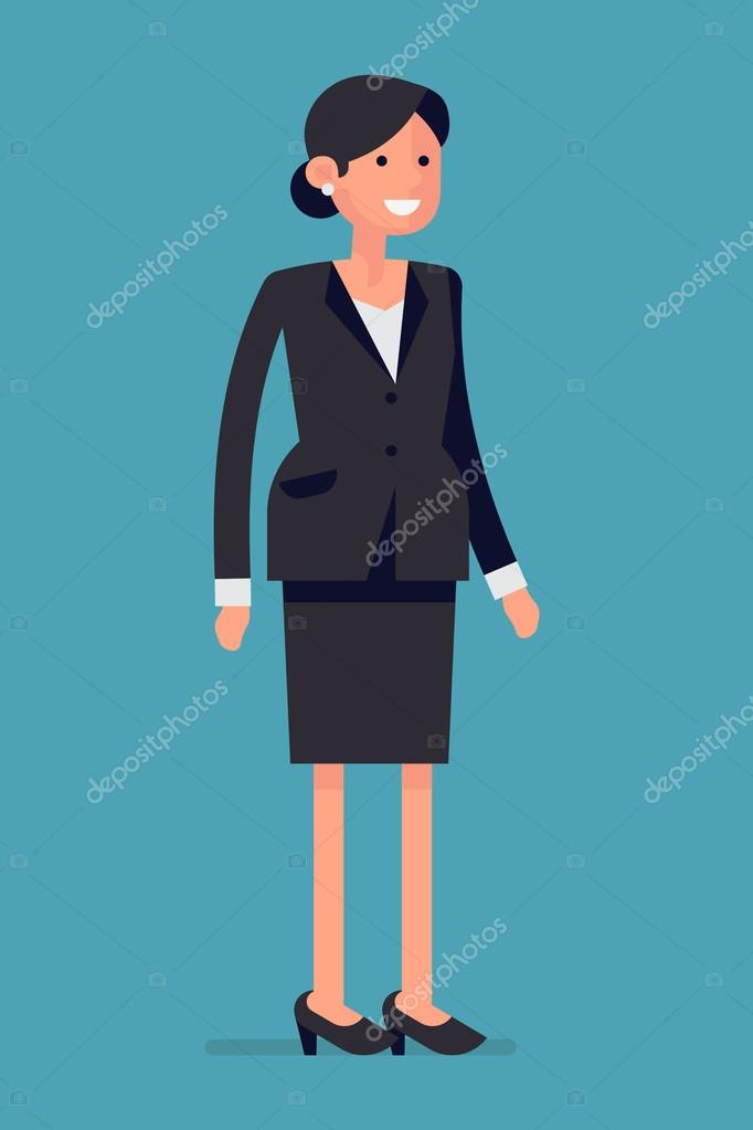 Female office worker character smiling