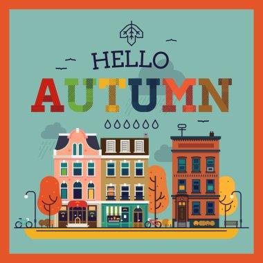 Hello Autumn seasonal background with   city