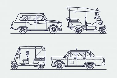 Trendy linear transport icons
