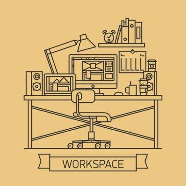 Cool linear web designer workspace